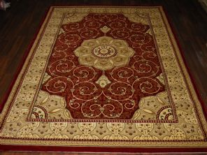 Woven Backed Red Traditional Carved Rug 160cm x 230cm Approx 8x5 Top Quality